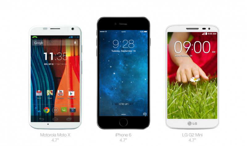 iPhone 6 moto x lg g2 mini